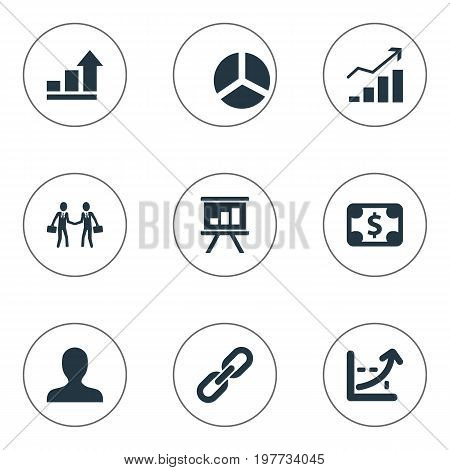 Elements Strength, Round Diagram, Rising Up And Other Synonyms Progress, Currency And Increase.  Vector Illustration Set Of Simple Strategy Icons.