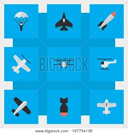 Elements Rocket, Catapults, Craft And Other Synonyms Bomb, Chopper And Man.  Vector Illustration Set Of Simple Plane Icons.