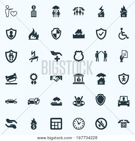 Elements Kid, Safe Shipping, Chronometr And Other Synonyms Strongbox, Document And Blaze.  Vector Illustration Set Of Simple Fuse Icons.