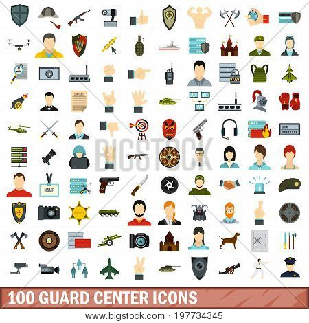 100 guard center icons set in flat style for any design vector illustration