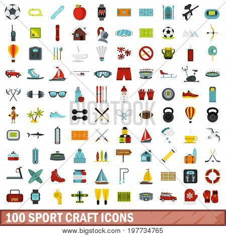 100 sport craft icons set in flat style for any design vector illustration