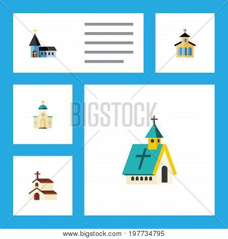 Flat Icon Building Set Of Architecture, Christian, Religious And Other Vector Objects