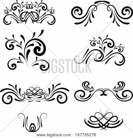 Set of decorative ornament elegance, symbol, background, certificate, label, tattoo, tracery