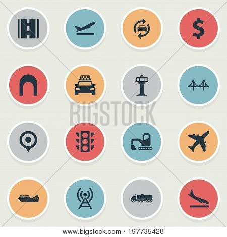 Elements Auto Service, Airport, Entrance And Other Synonyms Departure, Highway And Bulldozer.  Vector Illustration Set Of Simple Infrastructure Icons.