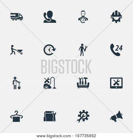 Elements Hanger, Notice, Truck And Other Synonyms Interval, Transportation And Duty.  Vector Illustration Set Of Simple Help Icons.