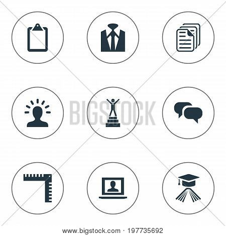 Elements Profile, Master Degree, Discussion And Other Synonyms Message, Measurement And Documents.  Vector Illustration Set Of Simple Conference Icons.