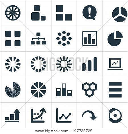 Elements Surge, Lecture, Circle Diagram And Other Synonyms Decrease, Menu And Exclamation.  Vector Illustration Set Of Simple  Icons.