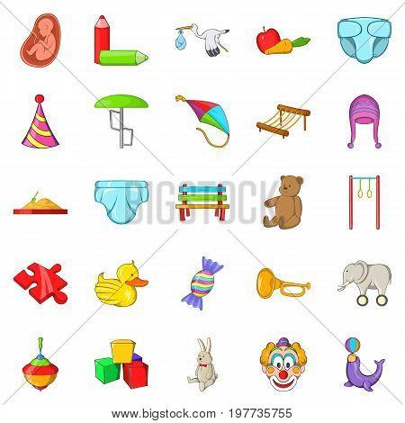 Infant icons set. Cartoon set of 25 infant vector icons for web isolated on white background