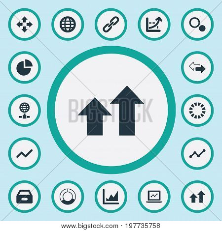 Elements Circular Diagram, Extend, Cycle Chart And Other Synonyms Circular, Range And Case.  Vector Illustration Set Of Simple Analysis Icons.