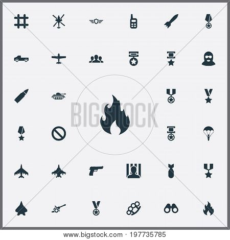 Elements Arm Brass, Pistol, Walkie-Talkie And Other Synonyms Order, Jailer And Bomber.  Vector Illustration Set Of Simple Conflict Icons.