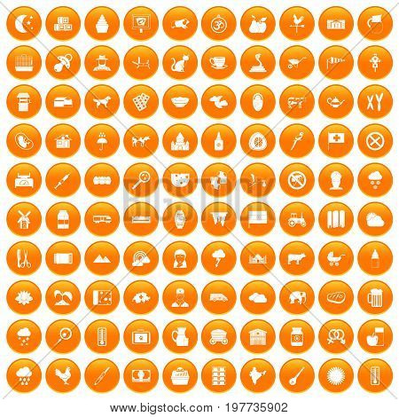 100 cow icons set in orange circle isolated vector illustration