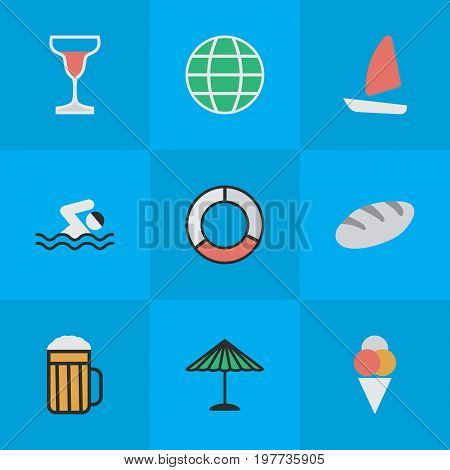 Elements Sorbet, Pool, Boat And Other Synonyms Beach, Pool And Globe.  Vector Illustration Set Of Simple Relax Icons.