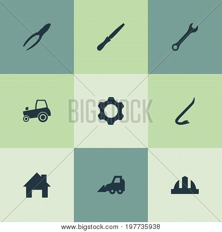 Elements House, Gear, Jimmy And Other Synonyms Wrench, Hardhat And Repair.  Vector Illustration Set Of Simple Industrial Icons.