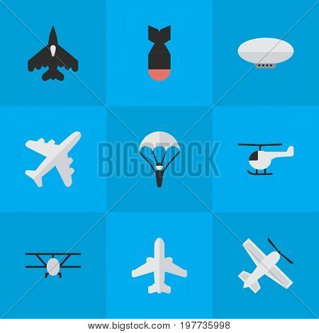 Elements Flying Vehicle, Airplane, Airliner And Other Synonyms Plane, Aviation And Rocket.  Vector Illustration Set Of Simple Aircraft Icons.