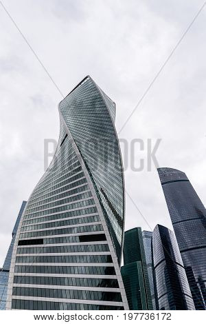 MOSCOW - MAY 21, 2017: Low angle view of Moscow-City skyscrapers. Moscow-City International Business Center is a commercial district in central Moscow