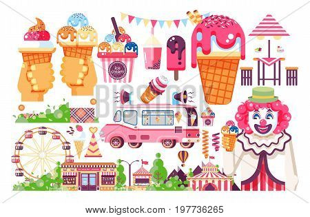 Stock vector isolated illustration business selling ice cream sale of food with machine, meal on wheels clown amusement park sweet vanilla chocolate fruit filling cafe road flat style white background