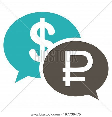 Rouble Dollar Transaction vector icon. Style is bicolor flat symbol, grey and cyan colors, white background.
