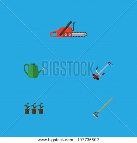 Flat Icon Farm Set Of Hacksaw, Flowerpot, Grass-Cutter And Other Vector Objects