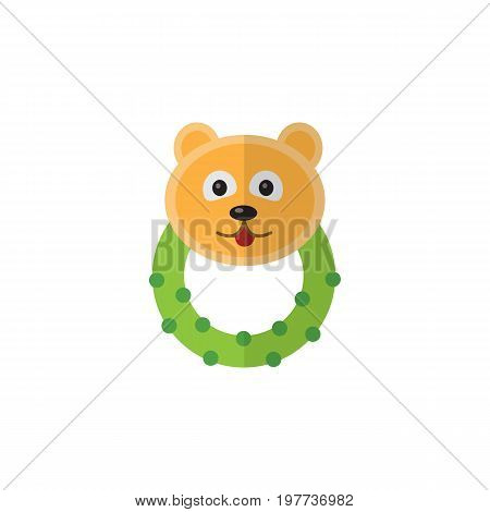 Rattle Vector Element Can Be Used For Bear, Beanbag, Rattle Design Concept.  Isolated Bear Beanbag Flat Icon.
