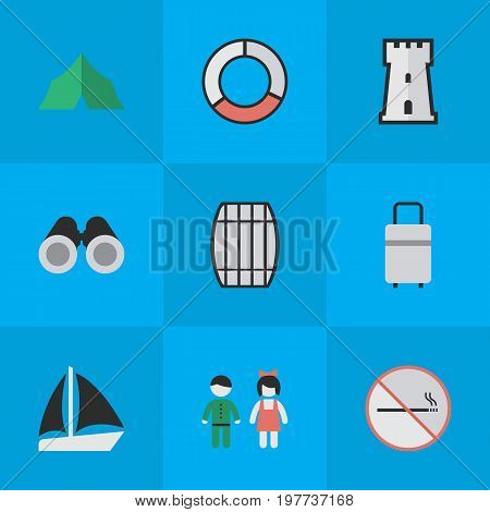 Elements Schooner, Smoke Forbidden, Cask And Other Synonyms Castle, Defence And Vision.  Vector Illustration Set Of Simple Travel Icons.
