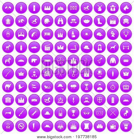 100 horsemanship icons set in purple circle isolated on white vector illustration