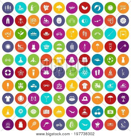 100 summer icons set in different colors circle isolated vector illustration