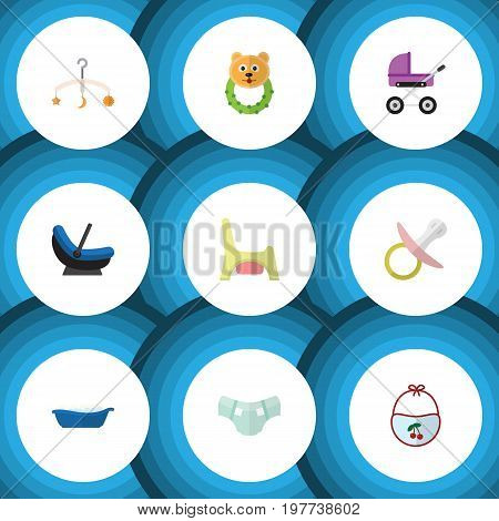 Flat Icon Infant Set Of Nappy, Stroller, Bathtub And Other Vector Objects