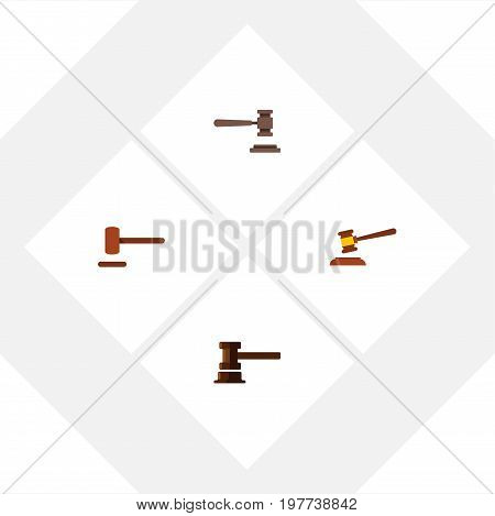 Flat Icon Lawyer Set Of Defense, Hammer, Government Building And Other Vector Objects
