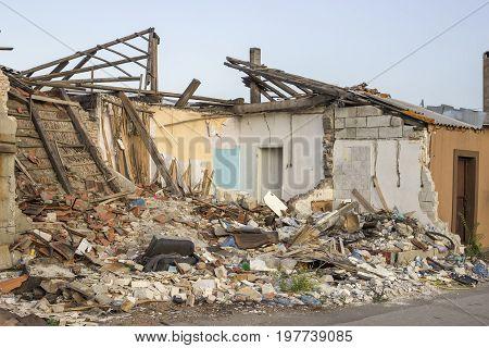Destroyed House After Demolition