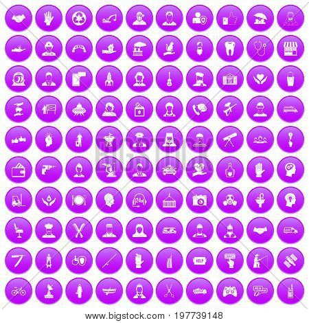 100 human resources icons set in purple circle isolated on white vector illustration