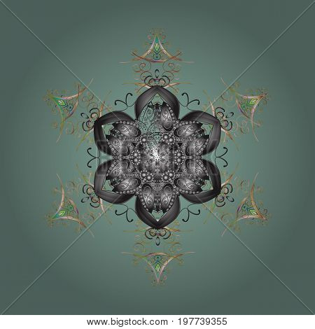 Symbol of winter. Isolated watercolor snowflakes on colorful background. Vector illustration with isolated snowflakes. Beautiful decoration.