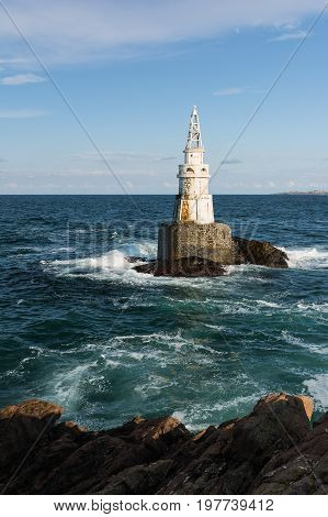 Lighthouse in the port of Ahtopol Black Sea Bulgaria.