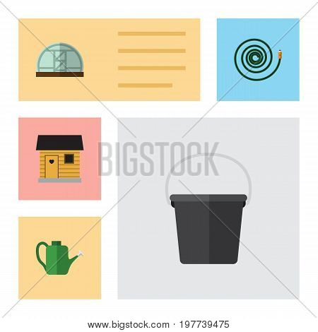 Flat Icon Garden Set Of Hosepipe, Pail, Bailer And Other Vector Objects