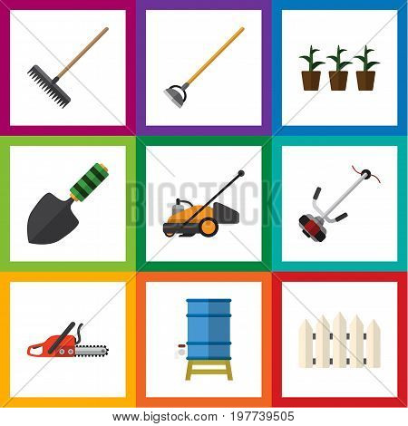 Flat Icon Garden Set Of Container, Harrow, Hacksaw And Other Vector Objects