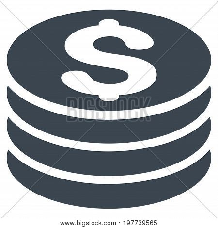 Dollar Coin Stack vector icon. Flat smooth blue symbol. Pictogram is isolated on a white background. Designed for web and software interfaces.