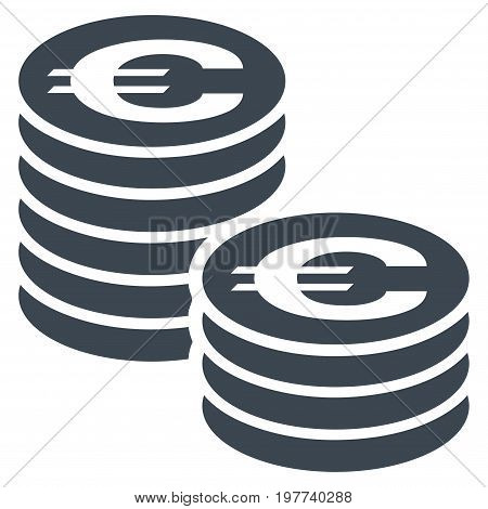 Euro Coin Columns vector icon. Flat smooth blue symbol. Pictogram is isolated on a white background. Designed for web and software interfaces.