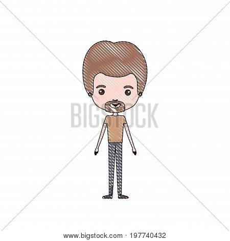 crayon colored silhouette of man standing caricature with light brown hair and van dyke beard with formal clothes vector illustration