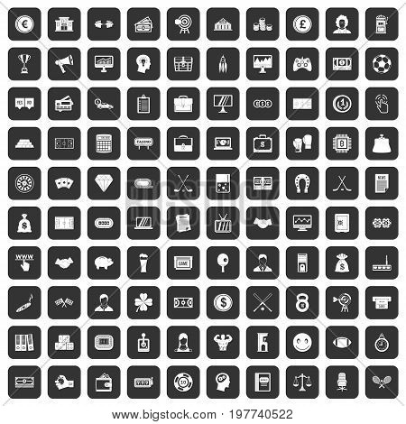 100 sweepstakes icons set in black color isolated vector illustration