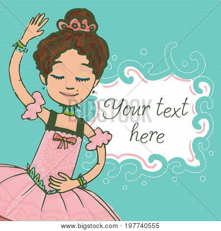 Green illustration template with text and beautiful brunette ballerina girl dancing in shiny pink dress.