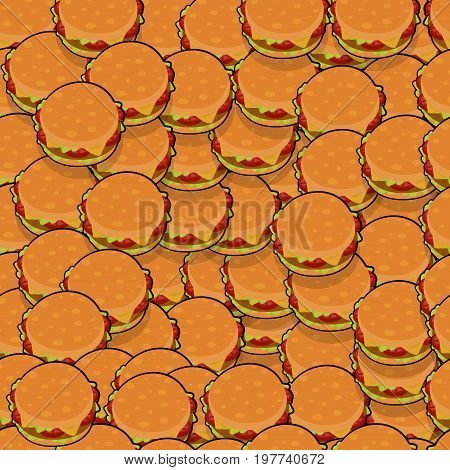Pattern with isometric delicious burgers  with meat, cheese, tomatoes and salat for poster, menus, brochure, web fast food business. Cartoon style  on white background