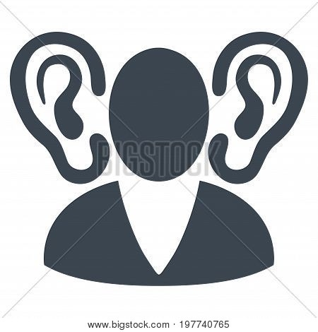 Listener vector icon. Flat smooth blue symbol. Pictogram is isolated on a white background. Designed for web and software interfaces.