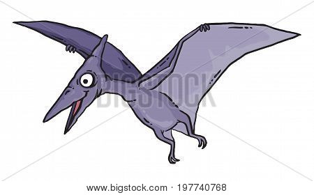 Cartoon drawing of a flying dinosaur - a Pterosaur. Vector illustration.