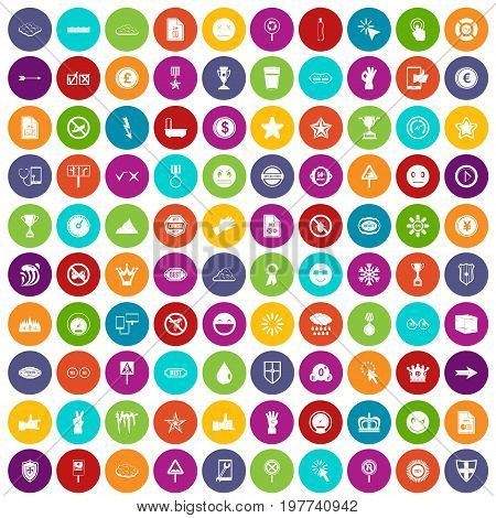 100 symbol icons set in different colors circle isolated vector illustration