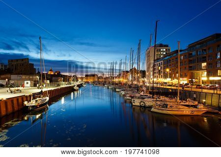 Gdansk Poland - July 22 2017: Moored yachts in harbor of Gdansk at night