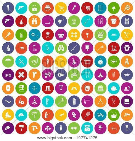100 tackle icons set in different colors circle isolated vector illustration