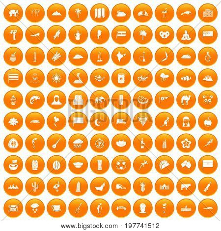 100 exotic animals icons set in orange circle isolated vector illustration