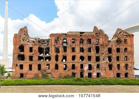 Red brick mill, ruined during the World War 2, as a war monument in a center of Volgograd, former Stalingrad