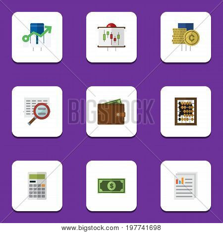 Flat Icon Gain Set Of Cash, Calculate, Greenback And Other Vector Objects