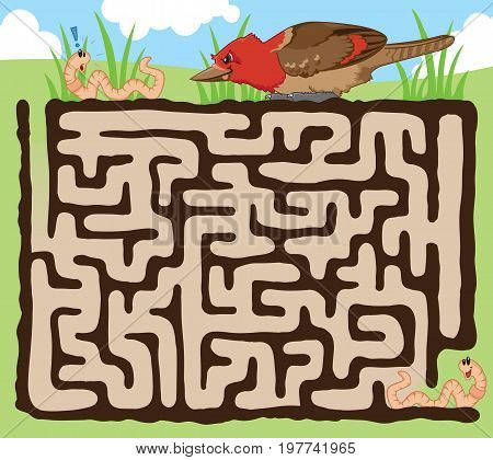 Fun maze for kids! Help the earthworm escape from the hungry bird.