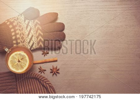 Gloves, Hat And Hot Tea With Lemon And Spices. Warm Autumn Toning. Copy Space.